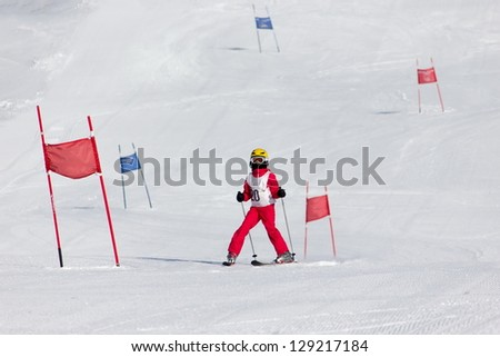 Girl on the ski race - stock photo