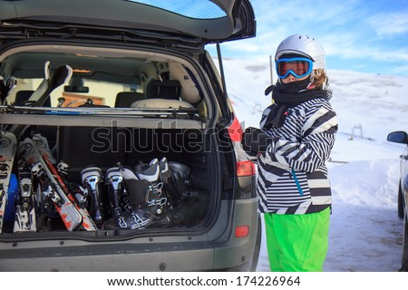Girl on the ski vacation - stock photo