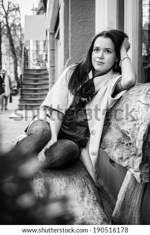 girl on the street BW