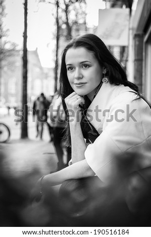 girl on the street BW - stock photo