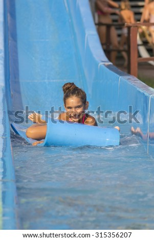 Girl on  the water slide