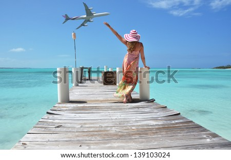 Girl on the wooden jetty. Exuma, Bahamas - stock photo