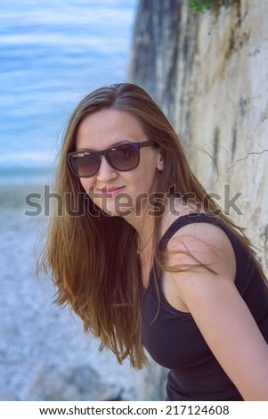 Girl on vacation - stock photo