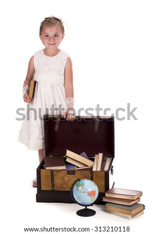 Girl opens a box with books on a white background - stock photo