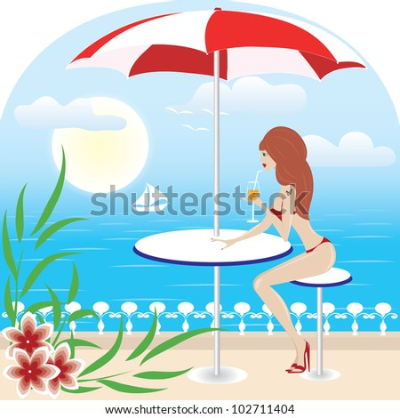 girl or woman on sea with umbrella