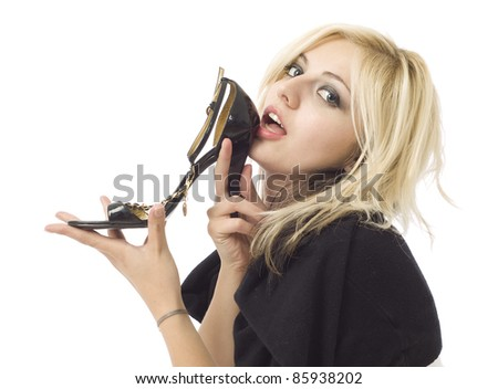 Girl or woman shoe shopper isolated on white - stock photo