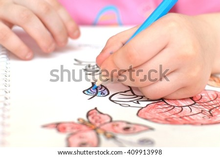 girl painting over white background - stock photo