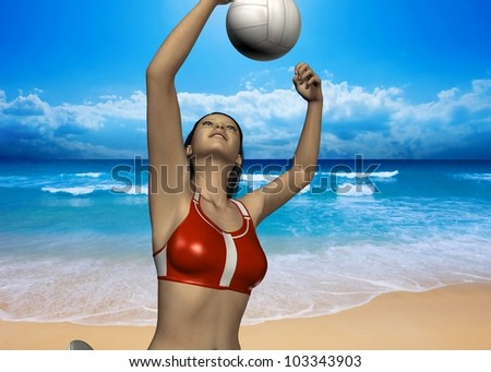 GIRL PALYS VOLLEYBALL ON BEACH - 3D