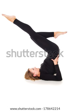 girl performs sports rack - stock photo