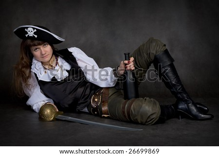 Girl - pirate on black with rapier and bottle
