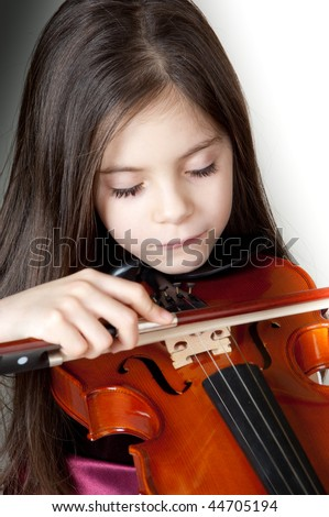 girl play violin - stock photo