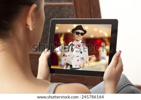 Girl playing at online casinos  - stock photo