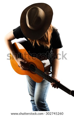 girl playing classic guitar isolate on white - stock photo