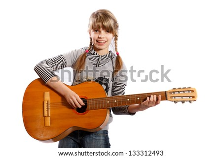 Girl playing guitar on a white background