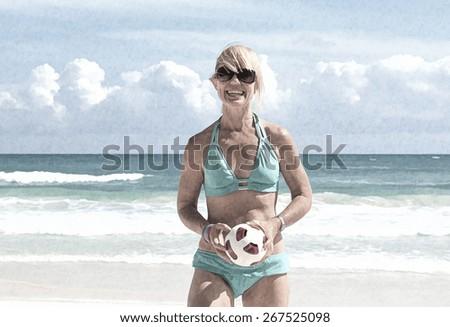 Girl playing on the beach,miami, florida - stock photo