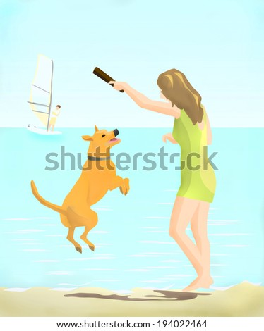 girl playing with a dog by the sea - stock photo