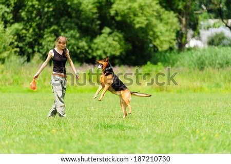 girl playing with dog on green meadow