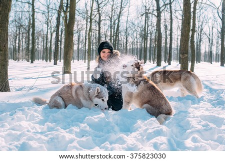 girl playing with siberian husky dogs in winter park - stock photo