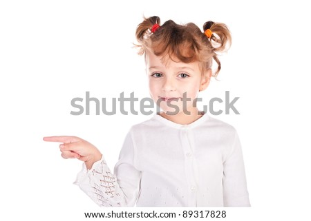girl pointing the finger isolated on a white background