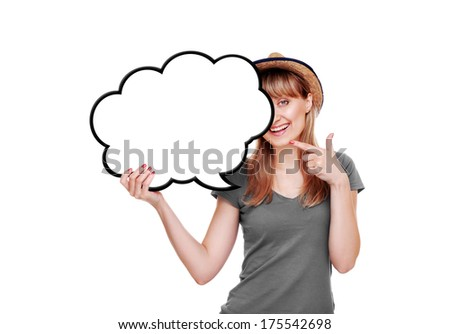 girl pointing to the blank as speaking bubble - stock photo