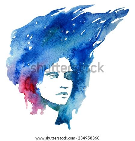 girl, portrait, watercolor - stock photo
