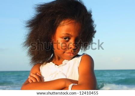 Girl posing for the camera - stock photo