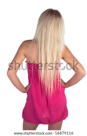 Girl posing on a white background