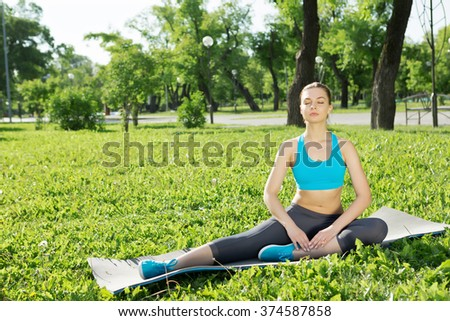 Girl practicing stretching exercises