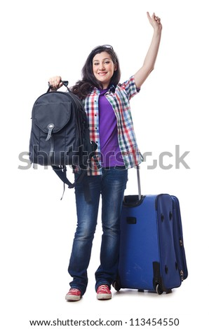 Girl preparing to travel for vacation - stock photo