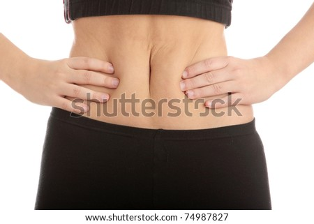 Girl pressing her stomach, isolated