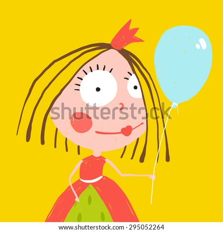 Girl Princess with Balloon and Crown in Beautiful Dress Design. Primitive style illustration for children holiday greeting card. Raster variant. - stock photo