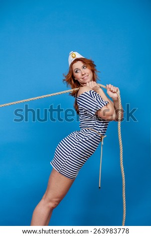 girl pulls - stock photo