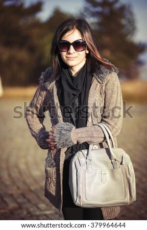 Girl purse fashion - stock photo