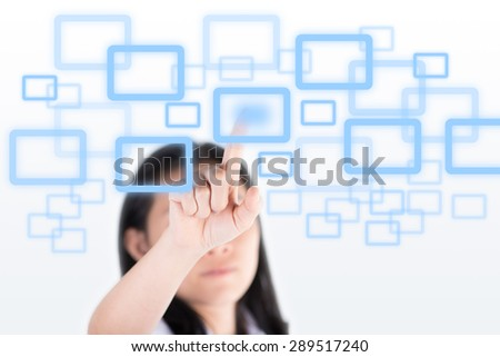 Girl pushing high technology button with computer screen - stock photo