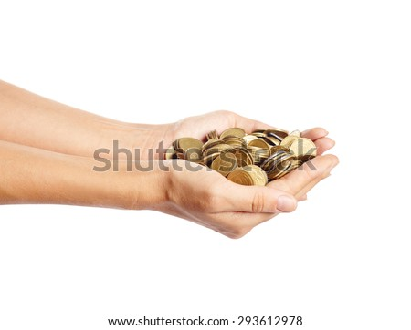 Girl put coins to stack of coins ,Business idea - stock photo