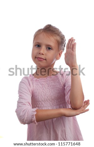 Girl Raises Her Hand - stock photo