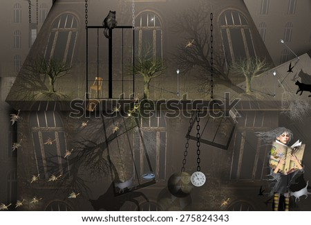 girl reading a book in front of a dark house with a black cat and trees, a clock is hanging on a chain