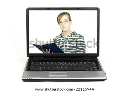 Girl reading a book on a laptop screen isolated
