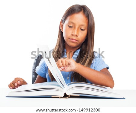 girl reading a book on a white background