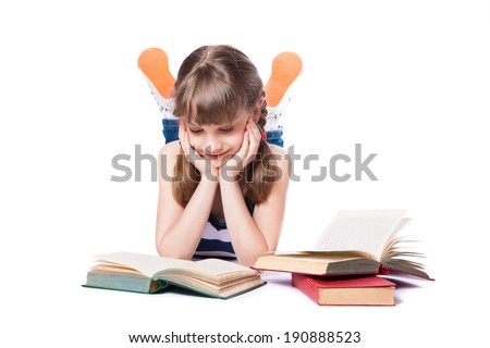 girl reading a book on white background