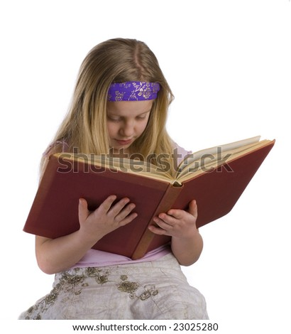 Girl reading an old red book on a white background - stock photo