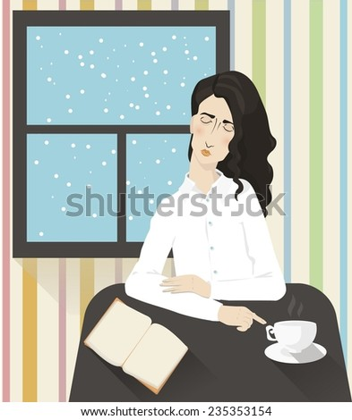 Girl reading in the cafe - stock photo