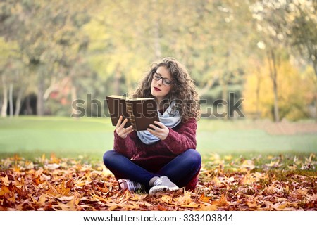 Girl reading in the park