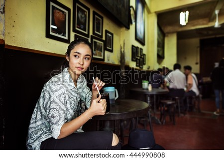 Girl Relax Coffee Cafe Awakening Concept - stock photo