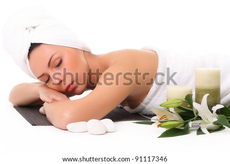 Girl relaxing in spa - stock photo
