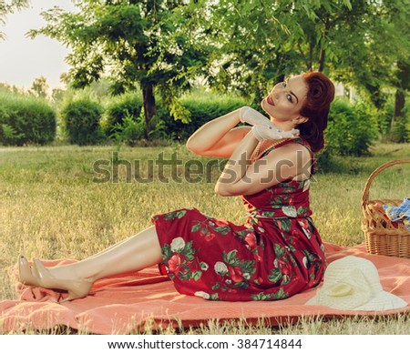 Girl retro style - stock photo