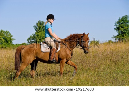 Girl Riding Horse in Field - stock photo