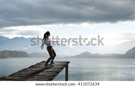 Girl riding skateboard
