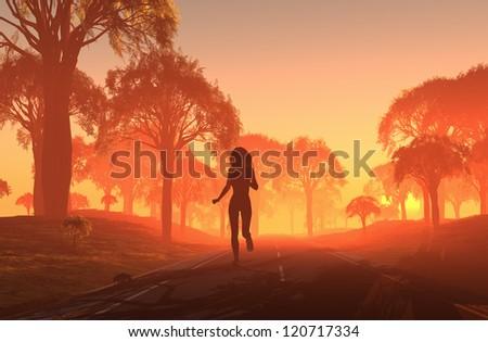 Girl runs on the road. - stock photo