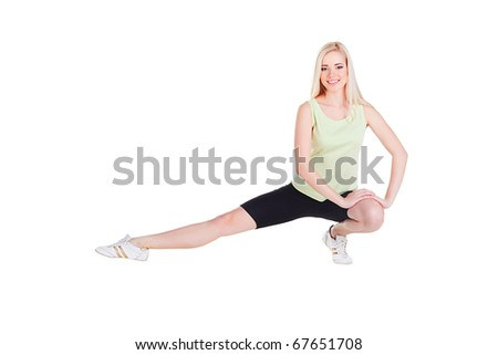 girl's exercise siting on one leg on white background